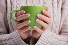 Woman hands with elegant french manicure. Stock Images