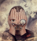 Woman with hands on face and symbols: butterfly, clock. Royalty Free Stock Image