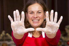 Woman and hands with flour Stock Photo