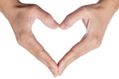 Woman hands forming a heart. On a white background Stock Photos
