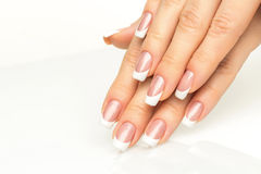 Woman hands with french manicure  close-up Stock Images
