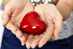 woman hands giving heart love and sharing concept Royalty Free Stock Photos