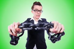 Woman with hands and handcuffs Royalty Free Stock Photo