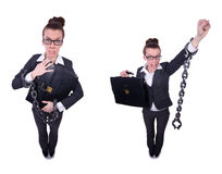 The woman with hands and handcuffs Stock Image