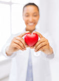 Woman hands with heart. Health and charity concept - close up of woman hands holding heart Royalty Free Stock Photography