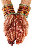 Woman hands with henna design Stock Image