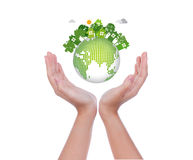 Woman hands hold eco friendly earth Stock Photos