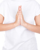 Woman hands hold hands together is symbol prayer Royalty Free Stock Images