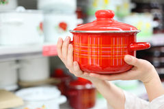 Woman hands hold pot in store Stock Photo