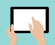Woman hands hold and touch tablet PC on turquiose background Royalty Free Stock Photos