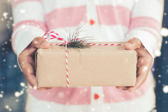 Free Woman Hands Holding A Christmas Gift Box. Stock Photography - 85904742
