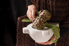 Woman Hands Holding Artichokes Stock Images