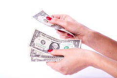 Woman hands holding banknotes of dollars Stock Photography