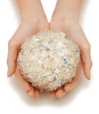 Woman hands holding bath ball. Closeup picture of woman hands holding bath ball Royalty Free Stock Photography