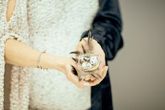 Woman hands holding birdnest in her hands, light pastel colors. Can be used as romantic background Royalty Free Stock Photo