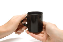 Woman hands holding black coffee cup, with clippin Royalty Free Stock Photo