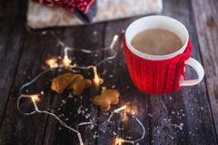 Woman hands holding Christmas coffee or tea red mug with steam, homemade gingerbread christmas cookies on a wooden table, sweeters stock photos