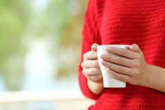 Woman hands holding a coffee cup. Close up of a woman wearing red sweater with hands holding a coffee cup beside a window with a green background stock photo