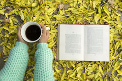 Woman hands holding cup of coffee over leaves background. Stock Photo