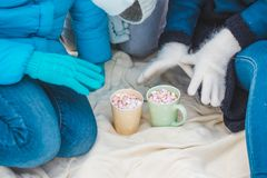 Woman Hands Holding Cup of Hot Chocolate with Marshmallow candies. Knitted mittens and Warm cocoa drink stock image