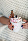 Woman hands holding a cup of hot chocolate with marshmallows Royalty Free Stock Image