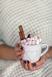 Woman hands holding a cup of hot chocolate with marshmallows Stock Images