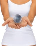 Woman hands holding earth globe Royalty Free Stock Photography