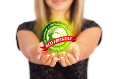Woman hands holding ECO sign Royalty Free Stock Image