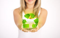 Woman hands holding ECO sign Stock Photo
