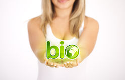 Woman hands holding ECO sign Stock Photos