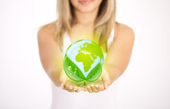 Woman hands holding ECO sign Stock Photography