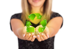 Woman hands holding ECO sign Royalty Free Stock Images
