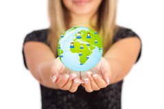 Woman hands holding ECO sign Royalty Free Stock Photo
