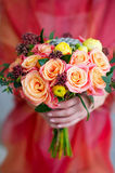 Woman hands holding flower bouquet. Closeup woman hands holding beautiful flower bouquet Royalty Free Stock Image