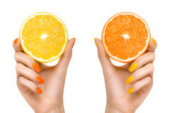 Woman Hands Holding Fresh Citrus Fruits. Healthy Diet Concept Royalty Free Stock Images
