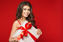 Woman hands holding gift Royalty Free Stock Image