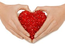 Woman hands holding heart Stock Image