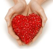 Woman hands holding heart Stock Images