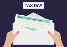 Woman hands holding the income Tax Form 1040. A woman signing or filling the form. Vector illustration for Tax Day on April 17. Ve stock illustration