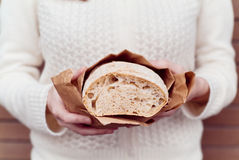 Hands with bread Stock Photo