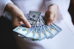 Woman hands holding money Stock Photography
