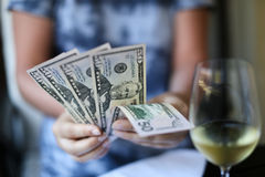 Woman hands holding money Royalty Free Stock Image