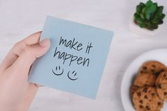 Free Woman Hands Holding Note Paper With Text Stock Image - 119713951
