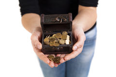 Woman hands holding old antique treasure chest Royalty Free Stock Image