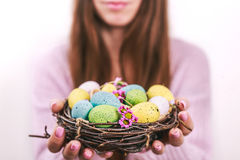 Woman hands holding painted easter egg in a small nest. Toned picture. Selective focus. Stock Images