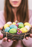 Woman hands holding painted easter egg in a small nest. Toned picture. Selective focus. Stock Photos