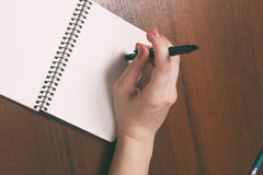 Woman hands holding pen down up . Top View with Copy Space stock images