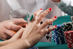 Woman hands holding playing cards royalty free stock images