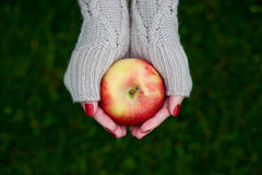 Woman hands holding a red apple Stock Photo
