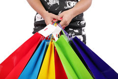 Woman hands holding shopping bags Stock Photos